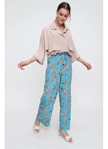 Pink Park Desenli Dokuma Viskon Pantolon  RD00021 Mavi